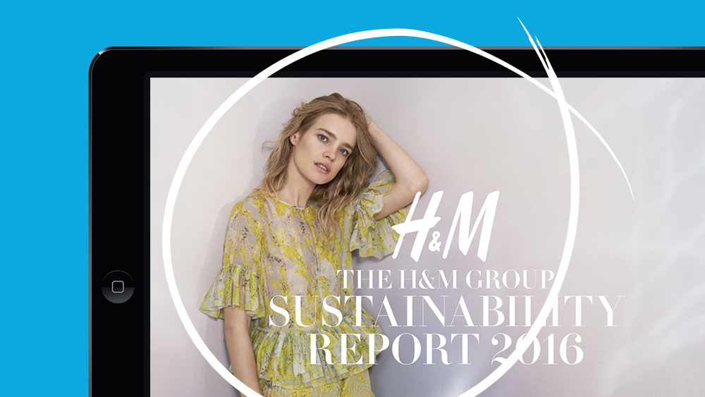 Photo of H&M's 2016 Sustainability Report shown on screen in PDF format