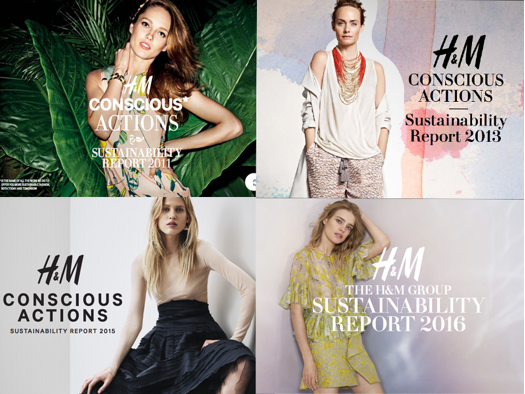 Photo of four report covers illustrating H&M's tendency to favour using white and female models