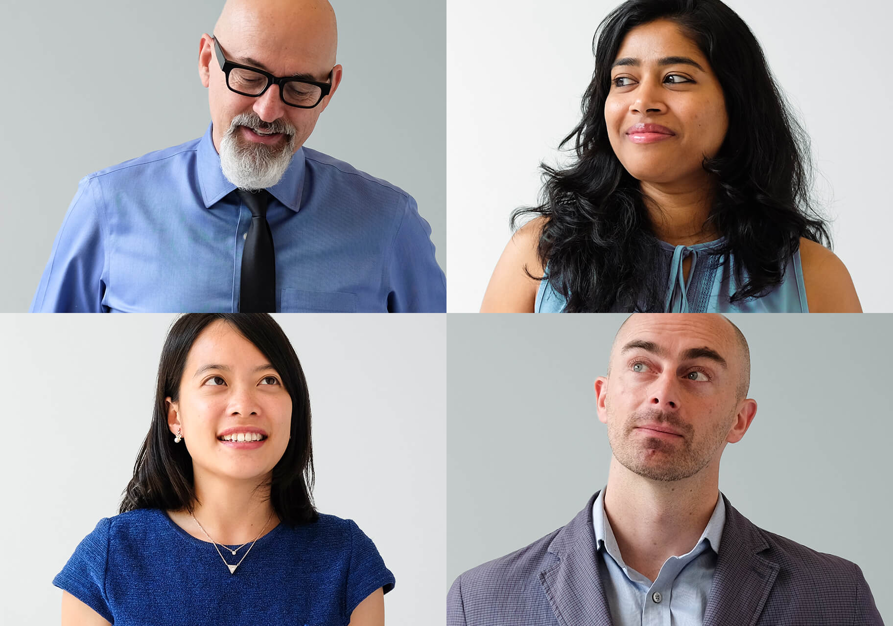 Photo of Kevin Ward, Art Director at The Works (top left), Sonam Madav, Sustainability Reporting Analyst at The Works (top right), Shu Yi Chu, Sustainability and Project Manager at The Works (bottom left), Wes Gee, Sustainability Director at The Works (bottom right)
