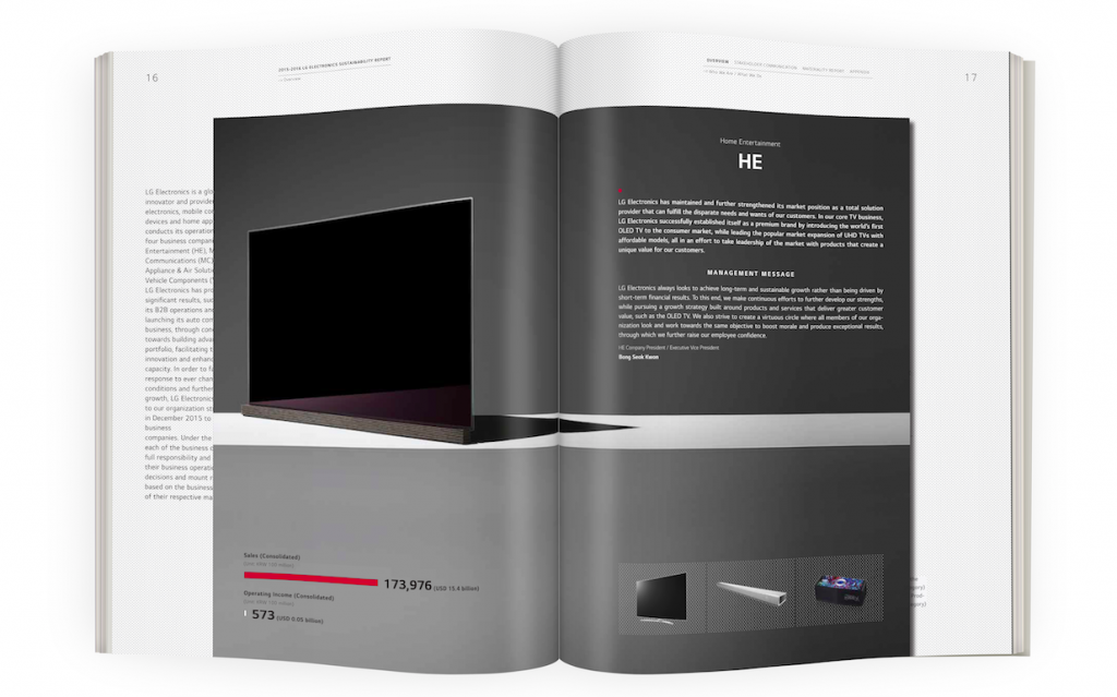 The 2016 LG Sustainability Report includes visuals of a small inset design.