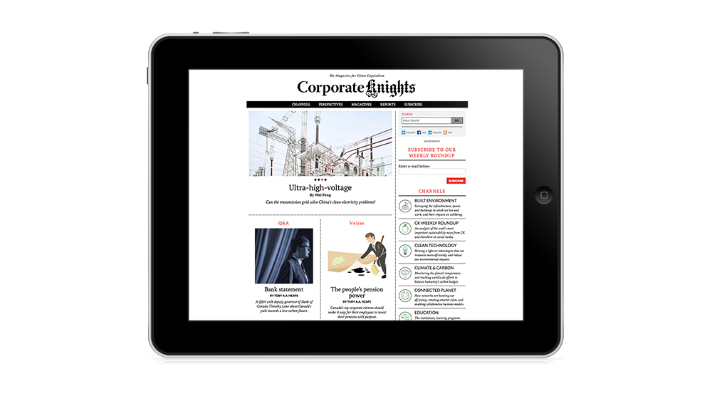 An iPad shows the Corporate Knights website.