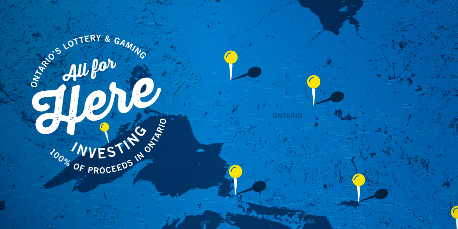 The OLG CSR Logo is superimposed over a blue map of Ontario, dotted with yellow pins.