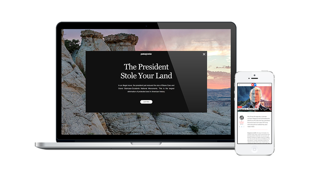 "The desktop homepage of Patagonia's website reads ""The President Stole Your Land."" A GQ article on mobile highlights the conflict between the company and the current US president, Donald Trump."