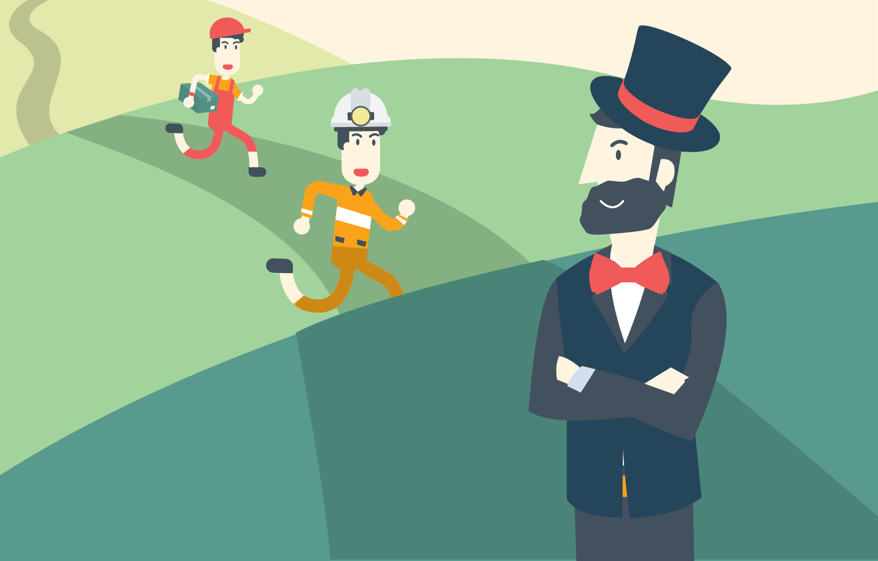 Three men are in a line on a road. One is dressed as a telegraph messenger, one as a steel worker, and one as a businessman.