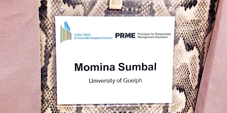 Momina's name tag from the PRME conference.