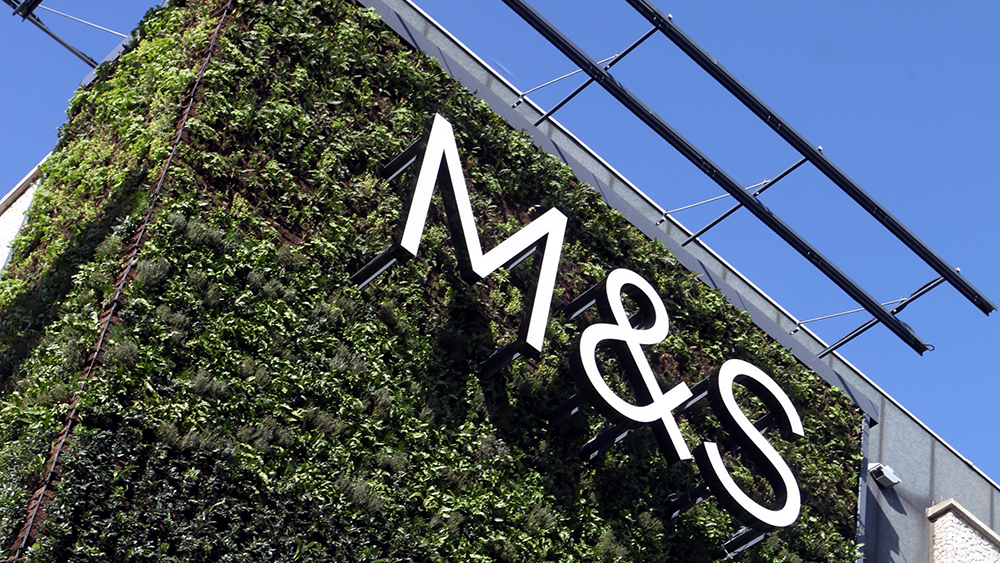 "The Marks and Spencer logo appears on a ""green"" living wall."