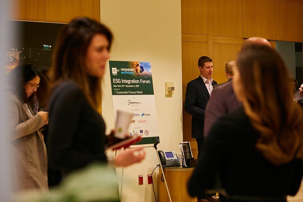 Delegates attending IR Magazine's December 2018 Environmental, Social and Governance Integration Forum in New York.