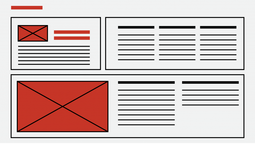 A website wireframe in red and black.