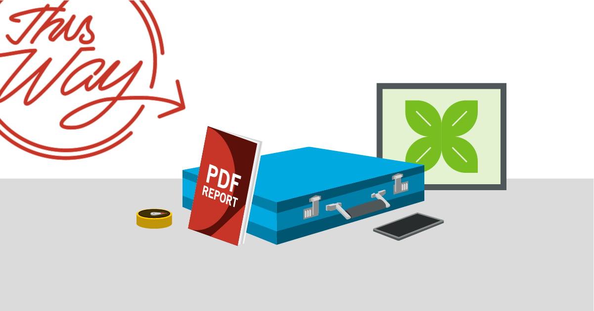 An illustration summarizes the major points of the article, showing a PDF report, a briefcase and a mobile phone.
