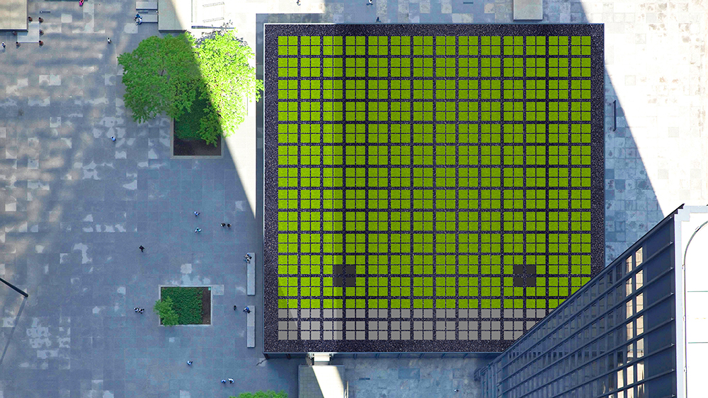 Aerial shot of a green roof, on a building owned by Cadillac Fairview.