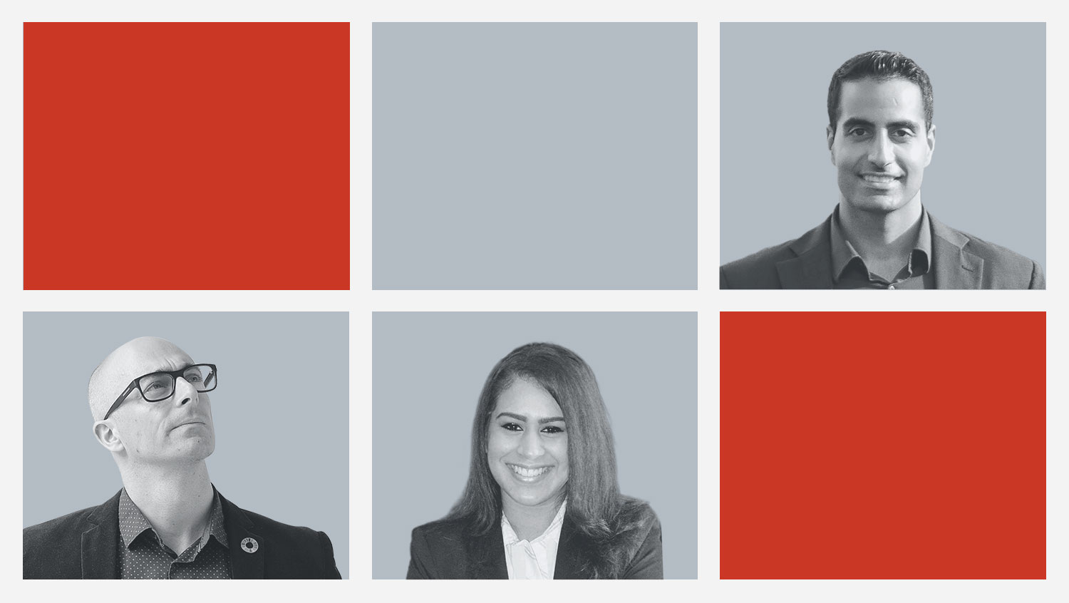 Works Design's 2020 Sustainability Reporting Trends team of researchers: Uzair Jaffer (top right), Wesley Gee (bottom left) and Aishwarya Ramchandran (bottom right)