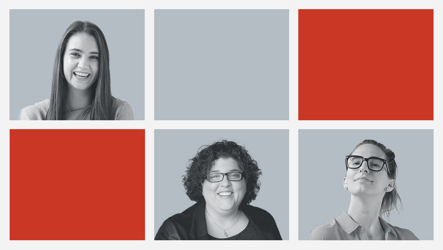 Works Design's 2020 Sustainability Reporting Trends team of digital strategists: Madi Lantz (top left), Ellie Rosen (bottom middle) and Kate Heron (bottom right)